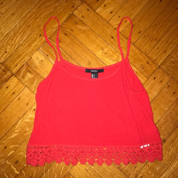 9e8085e37c2 Forever 21 Tops - Forever 21 red lace trim crop top small ❤